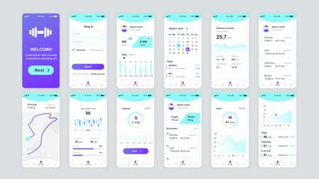 Set di schermate UI, UX, GUI Modello di design piatto per app fitness per app mobili, wireframe di siti Web reattivi.