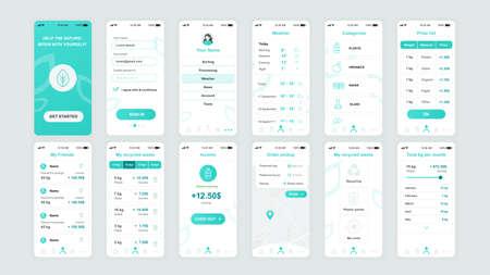 Set of UI, UX, GUI screens Ecology app flat design template for mobile apps, responsive website wireframes. Vector Illustration