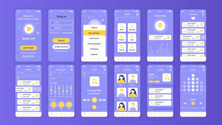 Set of UI, UX, GUI screens Music app flat design template for mobile apps, responsive website wireframes.