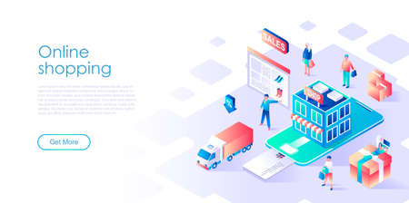 Modern flat design isometric concept of Online Shopping for banner and website. Isometric landing page template. Commercial checkout pay, ecommerce retail for customer apps. Vector illustration.
