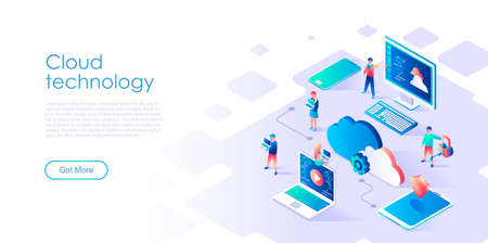 Modern flat design isometric concept of Cloud Technology for banner and website. Isometric landing page template. Data center, software to share informations on digital network. Vector illustration.