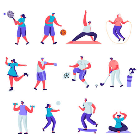 Set of flat people sports activities characters. Bundle cartoon people happy training or exercising isolated on white background. Vector illustration in flat modern style.