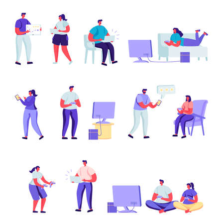 Set of flat people gamers characters. Bundle cartoon people players playing with various devices and poses on white background. Vector illustration in flat modern style.