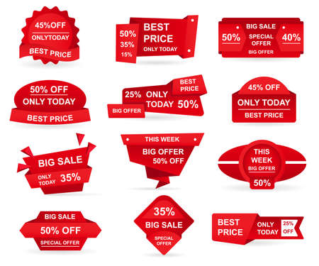Set of retail red sale tags. Stickers best offer price and big sale pricing badges design. Limited sales offer label or store discount banner card isolated. Shopping coupon. Vector illustration.