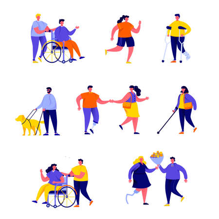 Set of flat people disabled with their romantic partners and friends characters. Cartoon tiny people on street isolated on white background. Flat vector Illustration. Collection people characters. Foto de archivo - 140163082