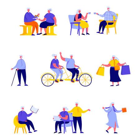 Insieme di persone piatte persone anziane felici che svolgono personaggi di attività quotidiane. Vettoriali
