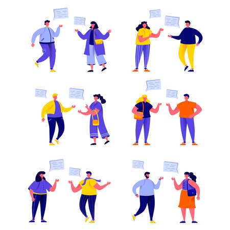 Set of flat people talking to each other with speech balloons characters. Stock Illustratie