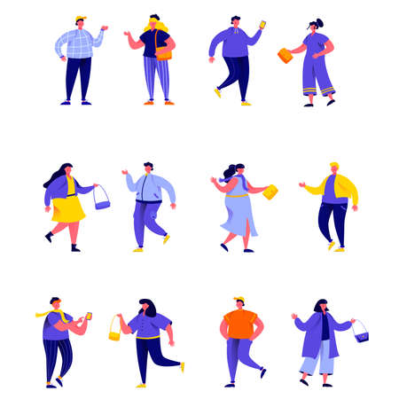Set of flat people wearing stylish clothes at fashion week characters.