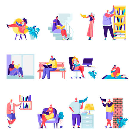 Set of flat people reading or students studying characters