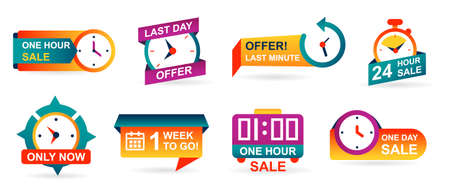 Set of sale countdown badges and stickers.