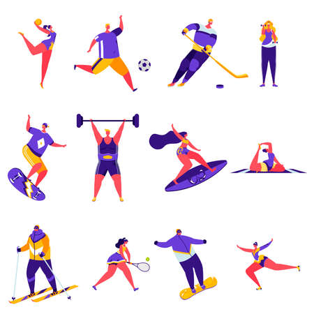 Set of flat people sports activities characters.
