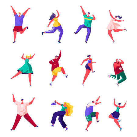 Set of flat people are jumping happiness characters. Ilustrace