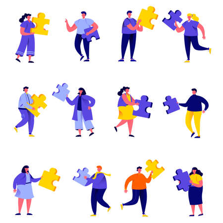 Set of flat people connecting puzzle elements characters.