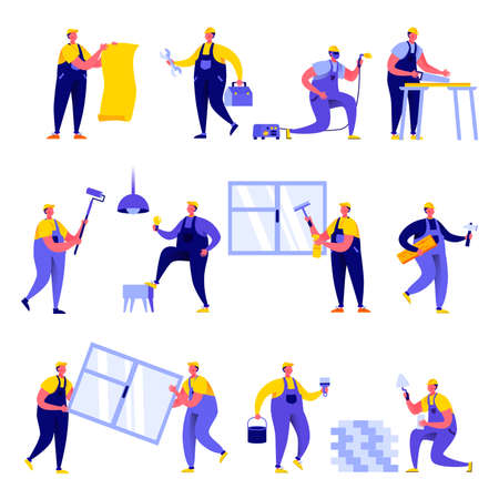Set of flat people home repair worker characters.  イラスト・ベクター素材