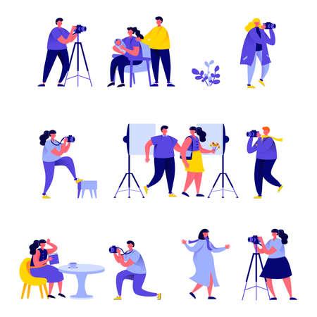 Ensemble de photographes de personnes plates prennent différents personnages de photos.