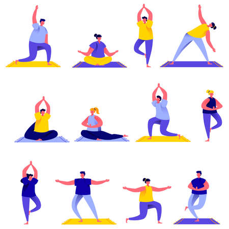Set of flat people group doing yoga exercises characters. Illustration