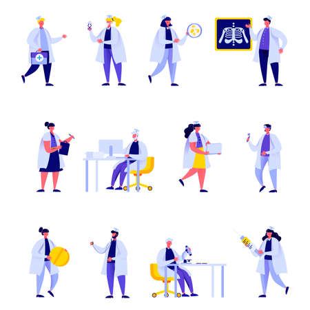 Set of flat people medical hospital staff characters. Bundle cartoon people Doctor nurse surgeon pharmacist in medic uniform isolated on white background. Vector illustration in flat modern style. Иллюстрация