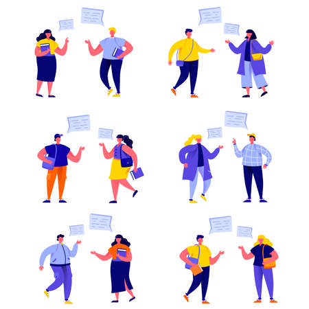 Set of flat people student group in debate characters. Ilustrace