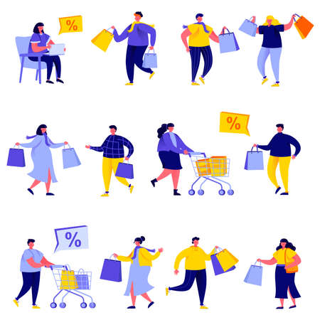 Set of flat people shopping bags and carts characters. Bundle cartoon people shoppers go shopping and shop isolated on white background. Vector illustration in flat modern style. Illustration
