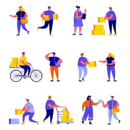 Set of flat people different delivery service workers characters.