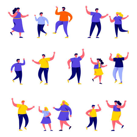 Set of flat people dancing parents with kids characters.