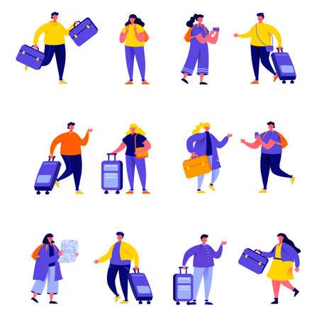Set of flat people couple family travelling with backpacks characters.