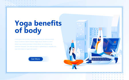 Yoga benefits of body flat web page design template of homepage or header images decorated people for website and mobile website development. Ilustrace