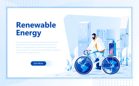 Renewable energy flat web page design template of homepage or header images decorated people for website and mobile website development. Flat landing page template. Vector illustration.
