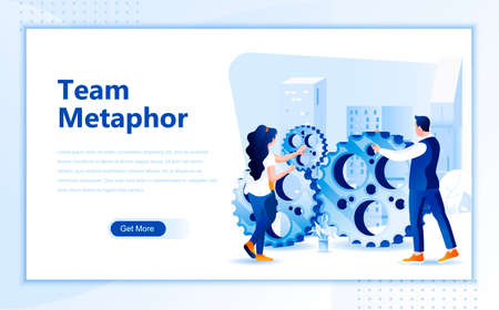 Team metaphor flat web page design template of homepage or header images decorated people for website and mobile website development. Flat landing page template. Vector illustration.