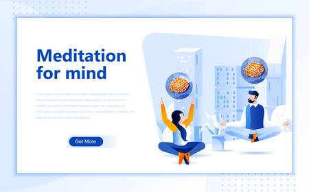 Meditation for mind flat web page design template of homepage or header images decorated people for website and mobile website development.