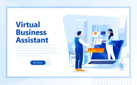 Virtual business assistant flat web page design template of homepage or header images decorated people for website and mobile website development.