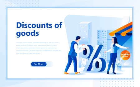 Discounts of goods flat web page design template of homepage or header images decorated people for website and mobile website development.