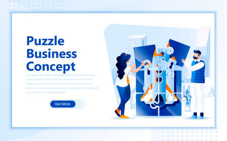 Puzzle business concept flat web page design template of homepage or header images decorated people for website and mobile website development. Flat landing page template. Vector illustration.