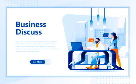 Business discuss flat web page design template of homepage or header images decorated people for website and mobile website development. Ilustrace