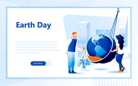 Earth day flat web page design template of homepage or header images decorated people for website and mobile website development.