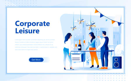 Corporate leisure flat web page design template of homepage or header images decorated people for website and mobile website development.