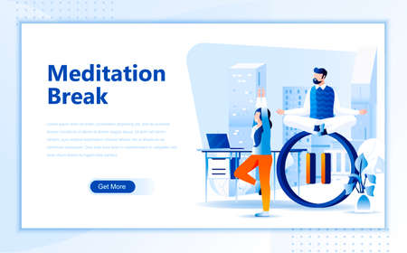 Meditation break flat web page design template of homepage or header images decorated people for website and mobile website development.
