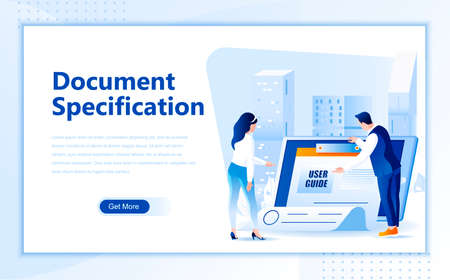 Document specification flat web page design template of homepage or header images decorated people for website and mobile website development. Çizim