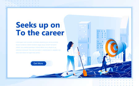 Seeks up on to the career flat web page design template of homepage or header images decorated people for website and mobile website development. Flat landing page template. Vector illustration.