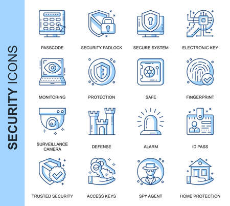 Thin Line Security Related Vector Icons Set for Website and Mobile Site and Apps. Outline icons design. Contains such Icons as Surveillance Camera, Fingerprint, ID and more. Linear Pictogram Pack. Çizim