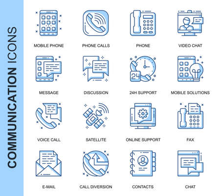 Thin Line Communication Related Vector Icons Set for Website and Mobile Site and Apps. Outline icons design. Contains such Icons as Phone Calls, Video Chat, Support and more. Linear Pictogram Pack.