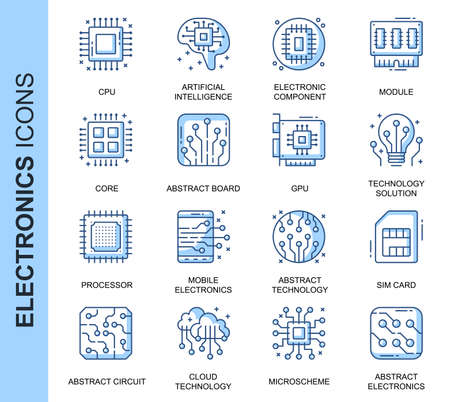 Thin Line Electronics Related Vector Icons Set for Website and Mobile Site and Apps.