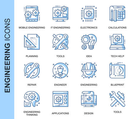 Thin Line Engineering Related Vector Icons Set for Website and Mobile Site and Apps.