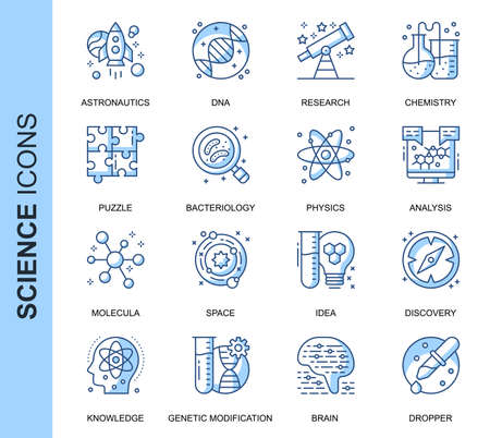 Thin Line Science Related Vector Icons Set for Website and Mobile Site and Apps.  イラスト・ベクター素材