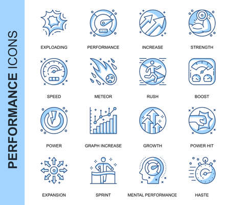 Thin Line Performance Related Vector Icons Set for Website and Mobile Site and Apps. Outline icons design. Contains such Icons as Expansion, Power, Haste, Growth and more. Linear Pictogram Pack. Stock Illustratie