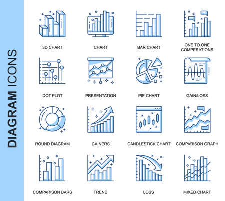 Thin Line Diagram Related Vector Icons Set for Website and Mobile Site and Apps. Ilustracja
