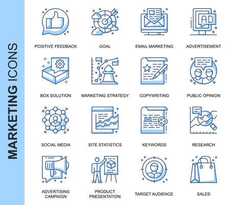 Thin Line Marketing Related Vector Icons Set for Website and Mobile Site and Apps. Outline icons design. Contains such Icons as Email Marketing, Social Media, Solution and more. Linear Pictogram Pack.