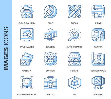 Thin Line Images Related Vector Icons Set for Website and Mobile Site and Apps.