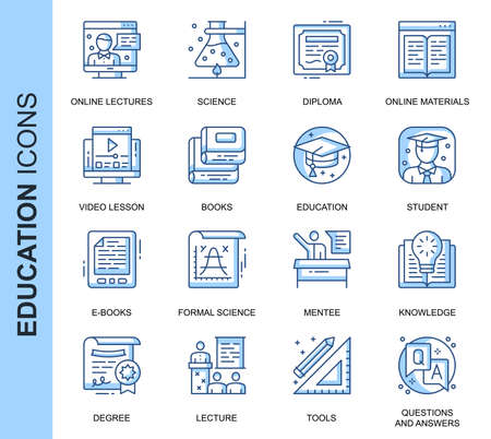 Thin Line Education Related Vector Icons Set for Website and Mobile Site and Apps. Outline icons design. Contains such Icons as Online Education, Video Lesson, E-books and more. Linear Pictogram Pack. Vecteurs