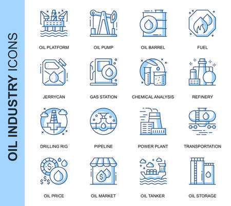Thin Line Oil Industry Related Vector Icons Set for Website and Mobile Site and Apps. Ilustracja